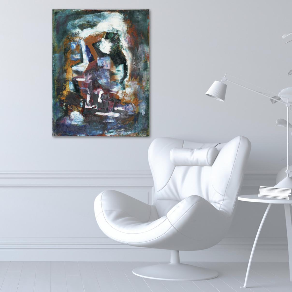 Купить картину в Минске фото Картина абстракция купить Изумрудный оранжевый 2020-I-13. В наличии