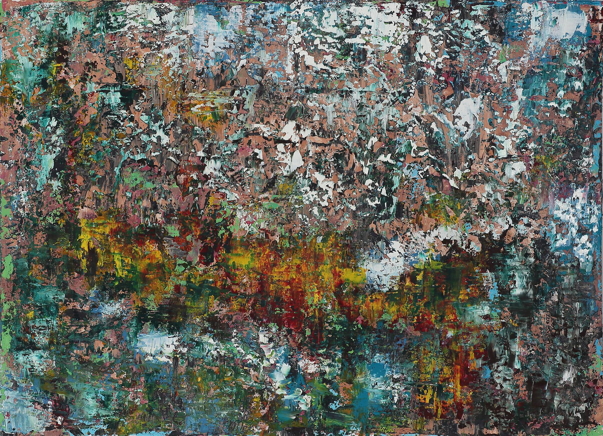 Абстрактная картина - изумрудный пейзаж. Автор: Лора Павлова