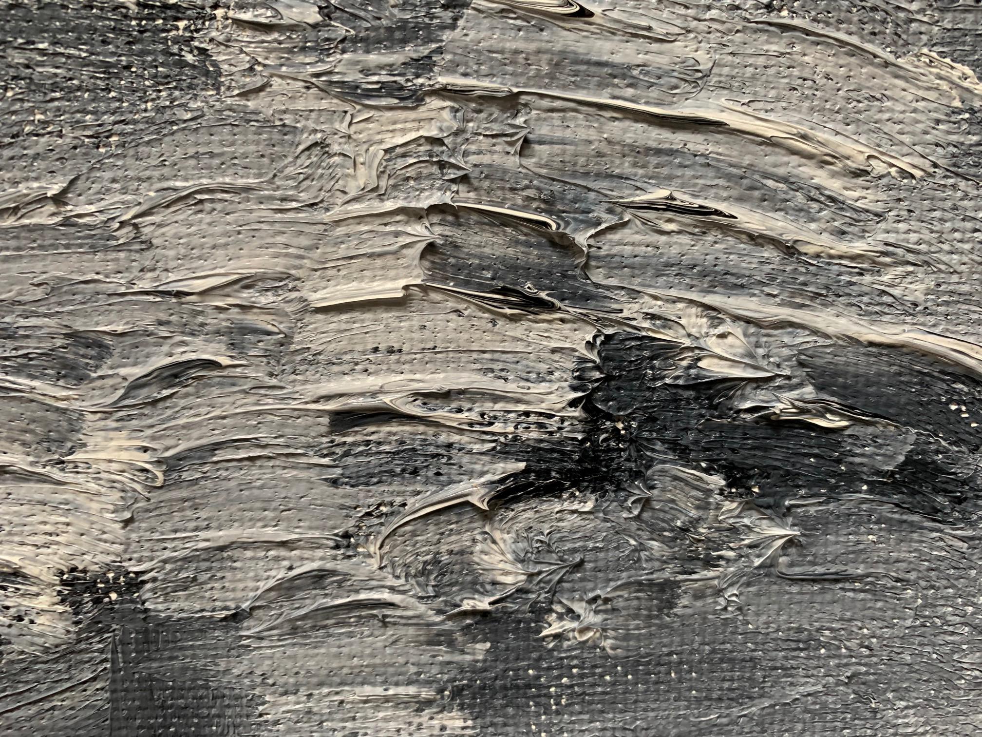 Черно-белая большая картина маслом 2021-26