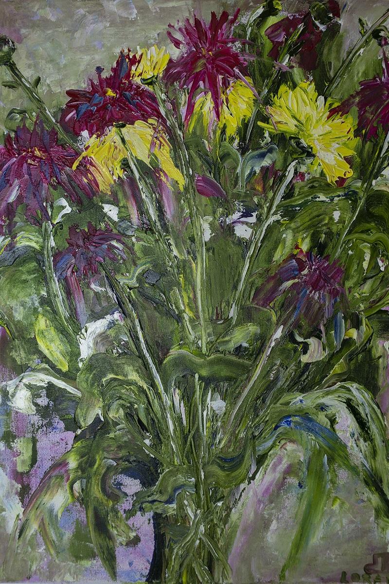Цветы картина хризантемы маслом. Частная коллекция (Россия)