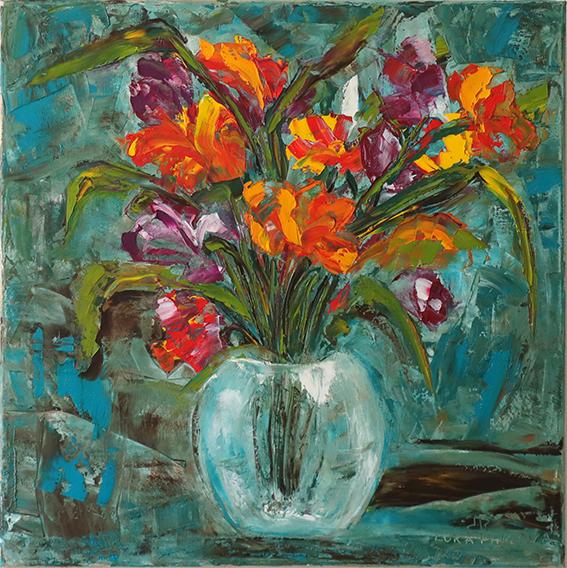 Картина маслом на холсте. Цветы в вазе. Частная коллекция (Беларусь)