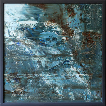 SOLD. Blue Abstract Oil Painting original Texture 76Х76 №2