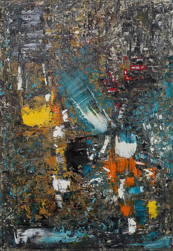 2020-I-1 Картина абстрактная маслом на дереве купить в интерьер