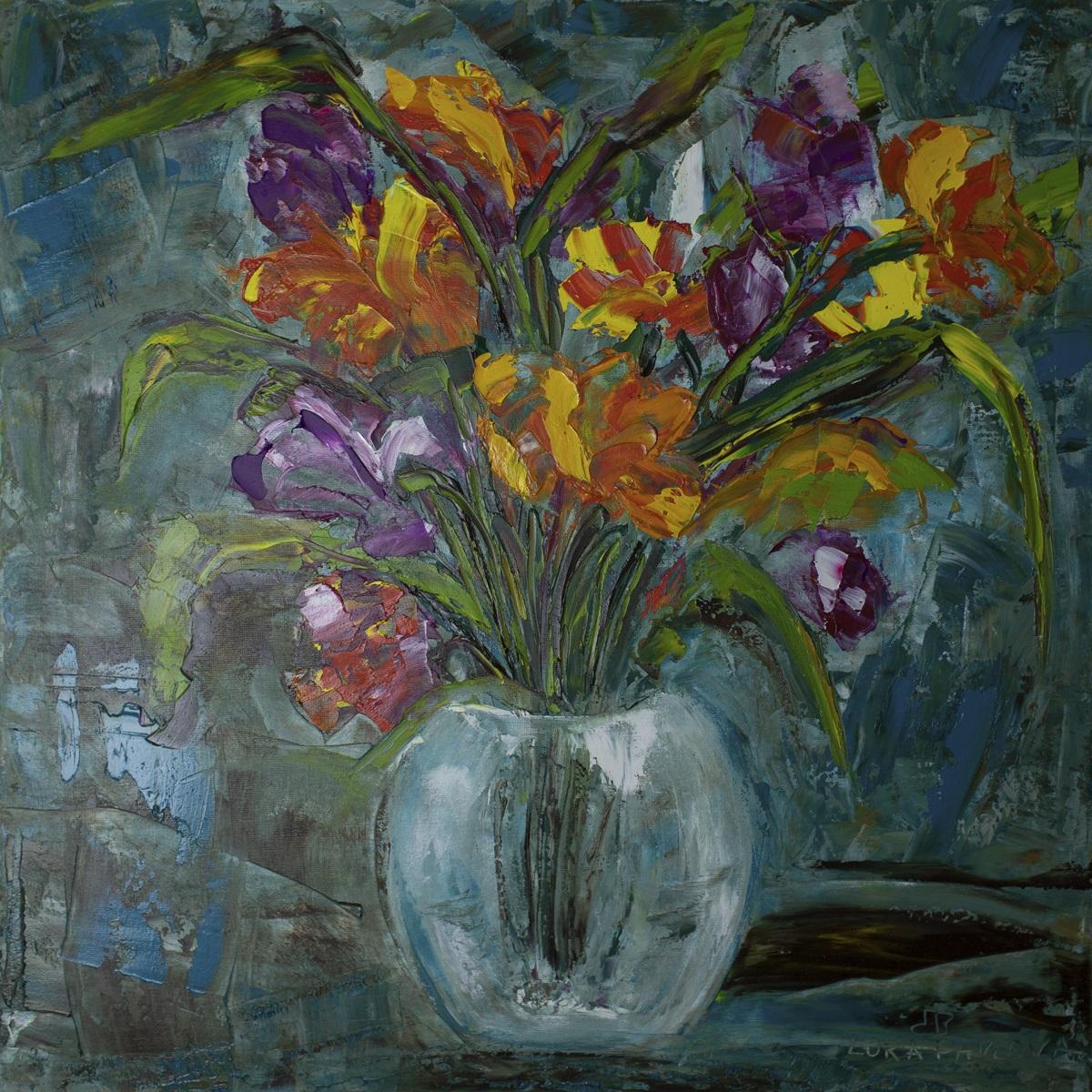 Цветы в вазе маслом купить 50*50
