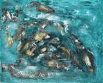 Большая абстрактная картина в Минске дельфины море 2020-I-3 100Х80 купить