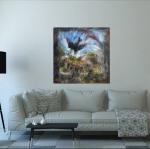 Современная квадратная картина маслом птица 2021-37