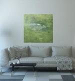Зеленый абстрактный пейзаж маслом на холсте купить 2021-42