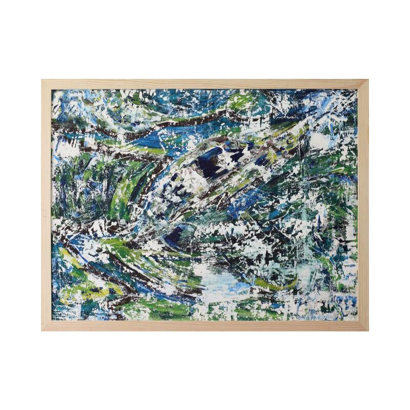 Картина маслом в раме зимний абстрактный пейзаж III-21