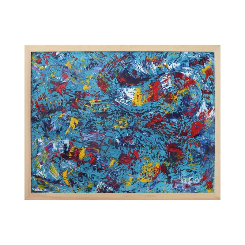 Картина маслом в раме абстрактный пейзаж III-25