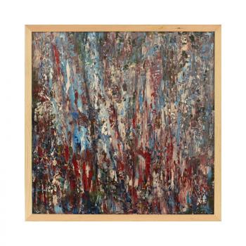 Купить картину в спальню Сиреневый дождь цветы картина маслом 76*76 2019-III-29. В наличии