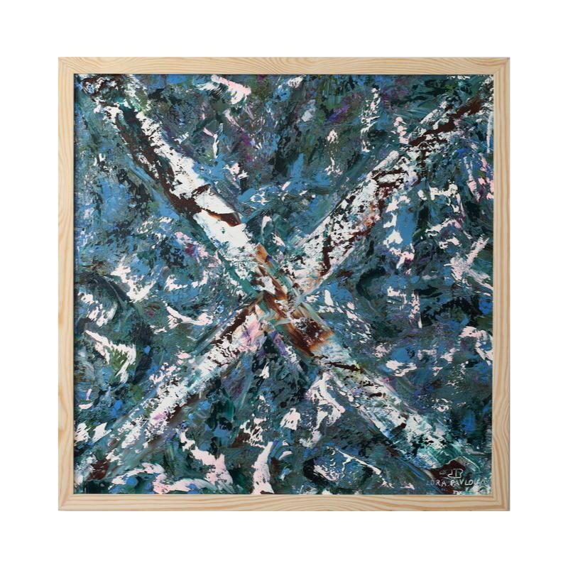 Картина маслом в раме абстрактный пейзаж III-33)