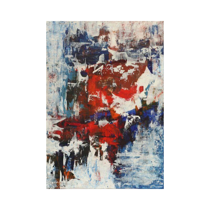 ПРОДАНА Картина маслом в раме абстрактный пейзаж III-47