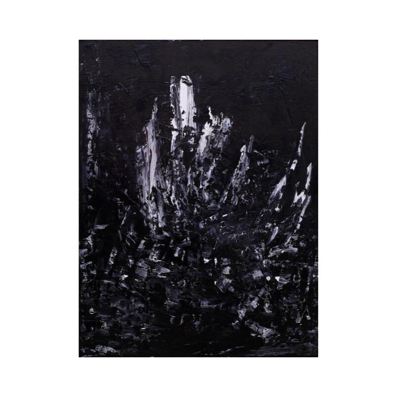 Картина маслом в раме черно-белая III-48