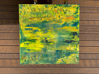 Зеленый ландшафт поле картина на холсте одуванчики 2021-13