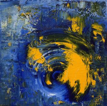 Картина маслом на холсте в голубых и желтых тонах Зимняя симфония 2021-5