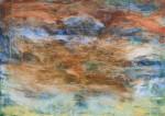 Абстрактная большая картина в гостиную оранжевый голубой 2021-39