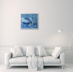 Картина масло, голубой абстрактный пейзаж