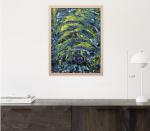 Картины маслом абстракция для интерьера темный Синий Желтый размер 60Х80 2019-III-44. В наличии
