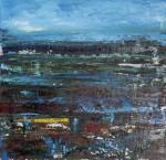 Картина абстракция для интерьера пейзаж размер 70Х70 Вода Небо Цветы 2020-I-7. В наличии
