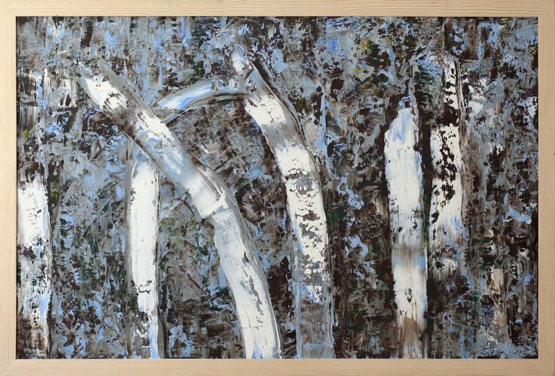 Большая абстрактная картина березовая роща 2019-II-6. Частная коллекция (Англия)