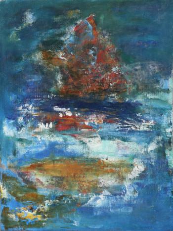 Алые паруса Картины маслом абстракция для интерьера Морской пейзаж 2020-I-9. Продается